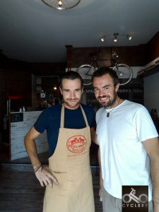 Roberto Allegri and Edoardo Campi respectively cook and owner of Cyclery