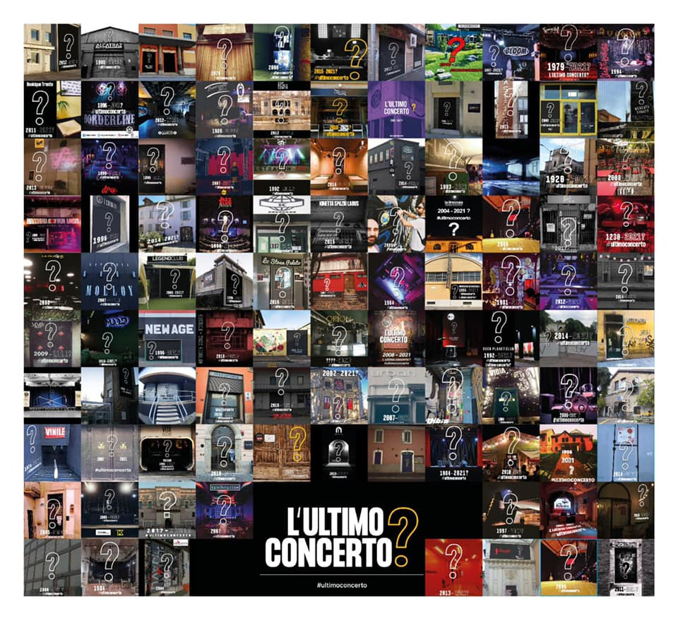 """2021 The Last Concert? """"#ultimoconcerto"""", this is the hashtag, with which over 90 Italian live clubs have decided to launch a campaign on social media"""